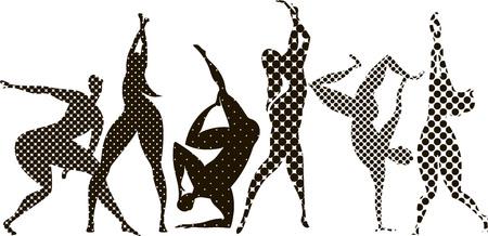people dance. vector silhouette of dancing people