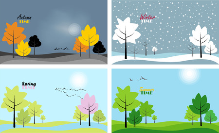 landscapes of the seasons. set of vector images with the image of the seasons 일러스트