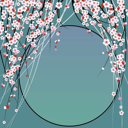Sakura. vector illustration with cherry blossoms. blank holiday template
