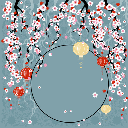 Sakura. vector illustration with cherry blossoms. template