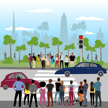 a crowd of people standing at a traffic light. vector landscape of the city on the background