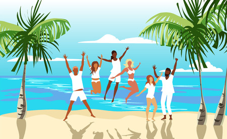 group of people on the beach. happy people jump. company of friends on vacation Иллюстрация