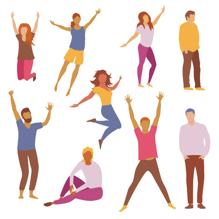 happy people. group of cheerful people. set of vector images