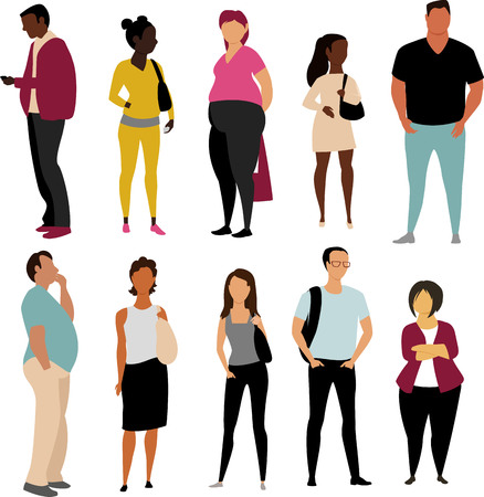 people of different races. vector illustration of people