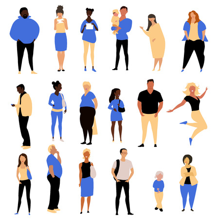 people. vector set of pictures of people in different poses