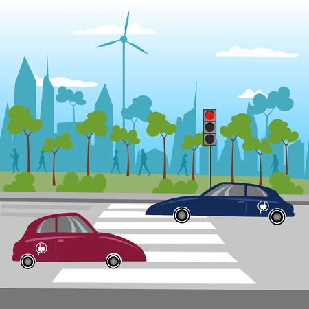 The eco-city. Eco cars. City vector landscape of the city and cars