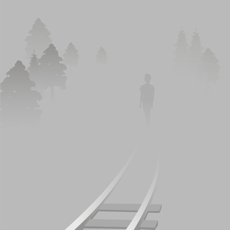 the girl is on the rails of the railway. a woman in a misty landscape