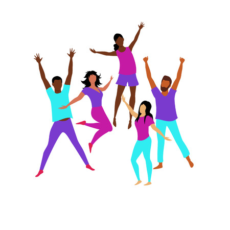 happy people. people in jump. a group of people rejoices