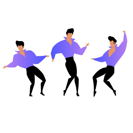 man dancing. a set of vector images with a dancing guy. swing dance
