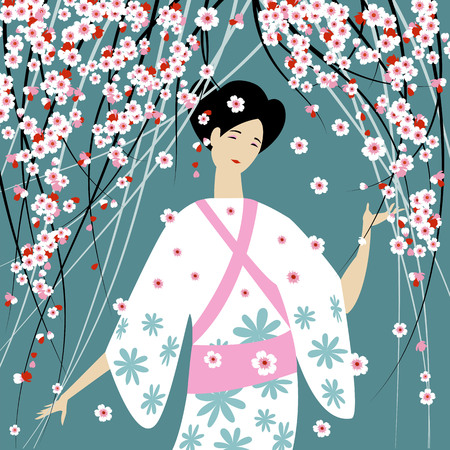 Asian girl in national dress and Sakura flowers. vector background Ilustração