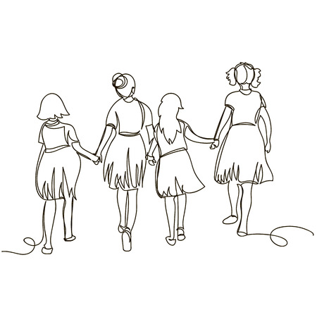 linear drawing of a group of children. rear view. one line Illustration
