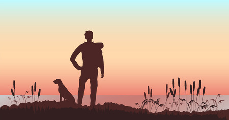 man with a dog on the background of the river landscape. landscape at sunset Ilustração