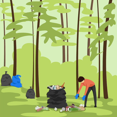 garbage collection in the forest. man collecting trash in the nature. vector illustration