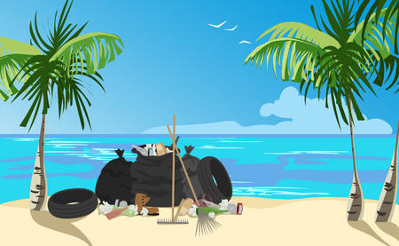 garbage collection on the beach. garbage collected in bags on the shore. vector illustration  イラスト・ベクター素材