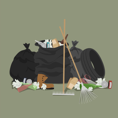 garbage collection. garbage collected in bags. vector illustration Illustration