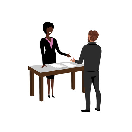 hiring. woman boss hires a new employee. vector illustration Illustration
