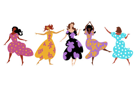 the girls are dancing. set of vector images with girls of different races