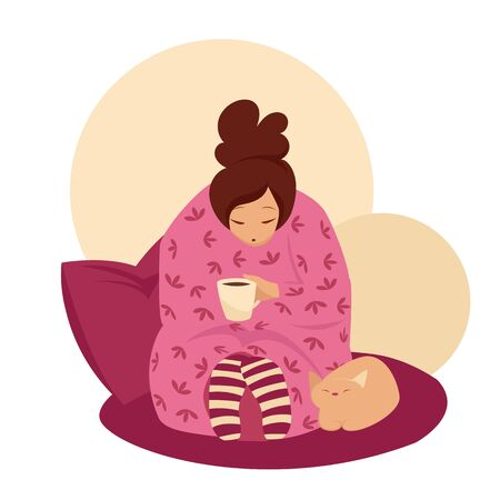 the girl drinks coffee covered with a blanket. vector image of a girl and a cat at home