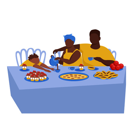 African American family at the dinner table. the family drinks tea with pies. vector illustration