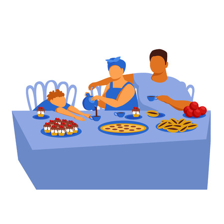 Caucasian family at the dinner table. the family drinks tea with pies. vector illustration