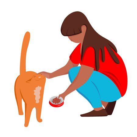 feeding the cat. she feeds the cat. vector illustration Ilustração