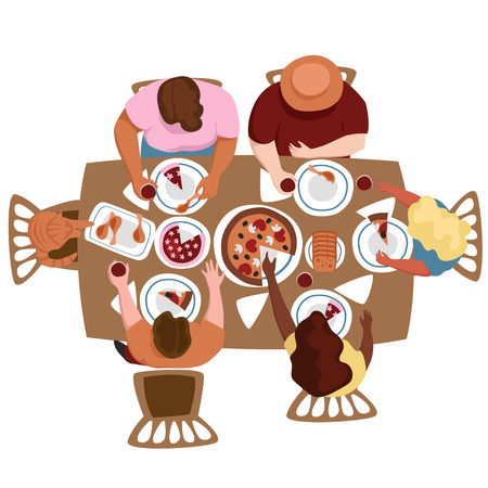 people eat at the table. the view from the top. fun party. vector image of people Иллюстрация
