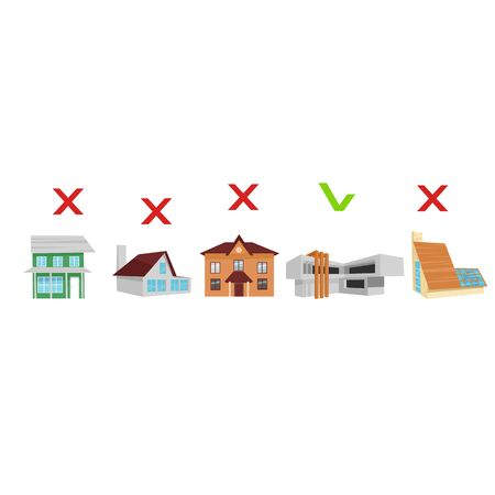 choosing a home. the choice of houses of different architectures. vector image Ilustração
