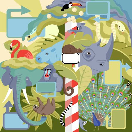 zoo. vector illustration of wild animals. the concept of images of animals in the wild