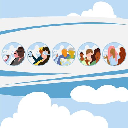 people fly in the plane. vector illustration of airplane passengers