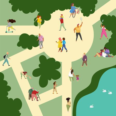 people walk in the Park. family recreation in the nature. active rest and sports. vector