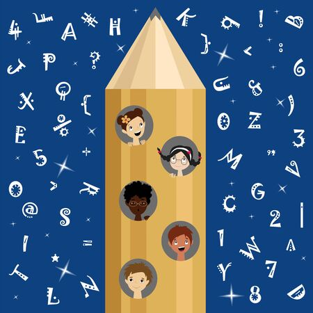 children fly on a rocket to knowledge. the concept of learning. children aspire to science