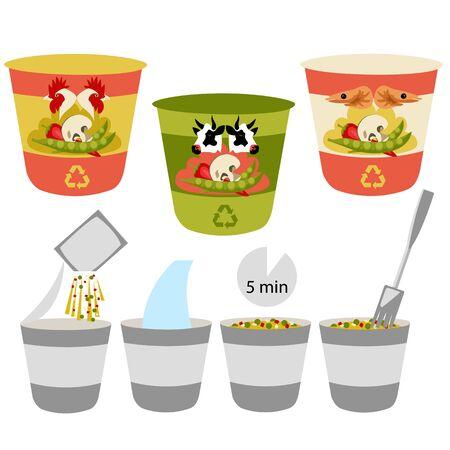 instant noodles. set of different flavors. Asian fast food. vector illustration Ilustração
