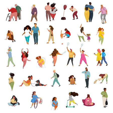people in different poses. vector image of people of different races in different poses. a set of vectors