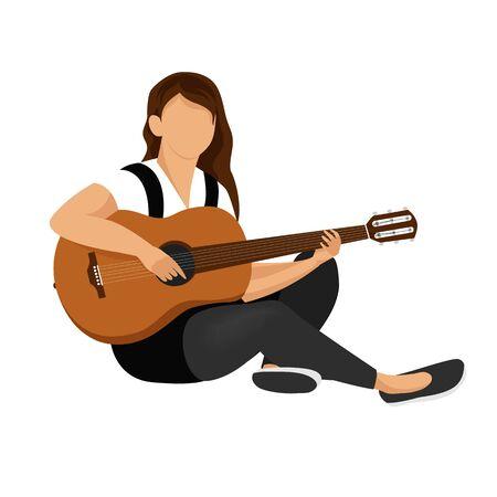 girl with guitar. young woman playing guitar. guitar vector image Çizim