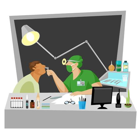 consult a doctor. otolaryngologist. consulting a sick person by a medical specialist Illustration