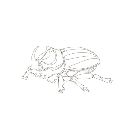 Rhino beetle. one continuous line. one line. vector