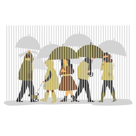 a crowd of people walking under umbrellas in rainy weather. people with umbrellas. autumn