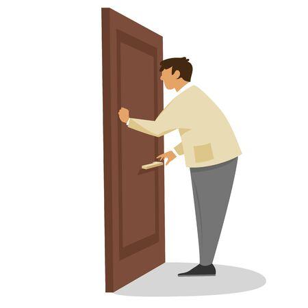 남자가 문을 두드린다. 벡터 평면 그림