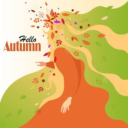 Hello autumn. autumn vector illustration. conceptual image of autumn