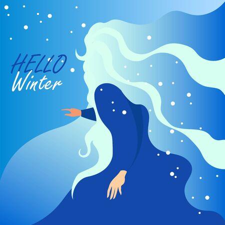 Hello winter. winter vector illustration. conceptual image of winter