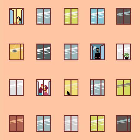house Windows. vector illustration of colored Windows on the wall. people in Windows Ilustração