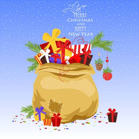 Christmas gift bag. vector image of gift boxes. new year banner Иллюстрация