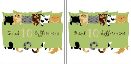 find 10 differences. vector image of cute cats for development. picture for children Ilustração