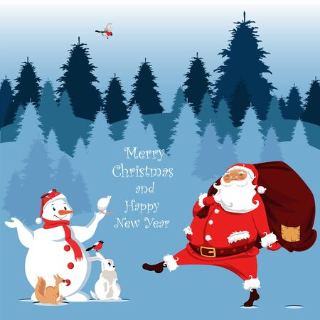 merry Christmas and happy new year. vector illustration of Santa Claus and snowman. forest animals in winter