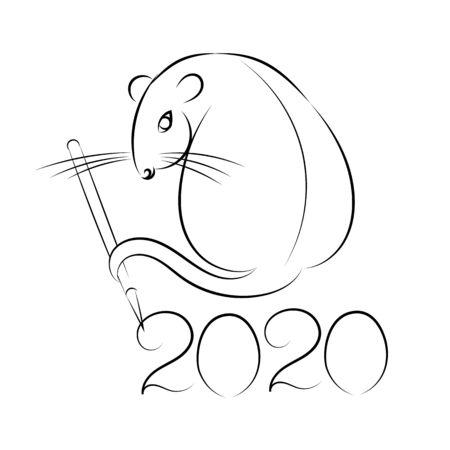 rat. 2020. symbol of Chinese new year. zodiac sign Ilustração