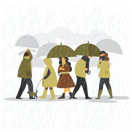 people in the autumn rain. people with umbrellas go in the rain Ilustração