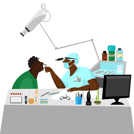 the physician and the patient. the doctor makes an examination of a sick person. medical care