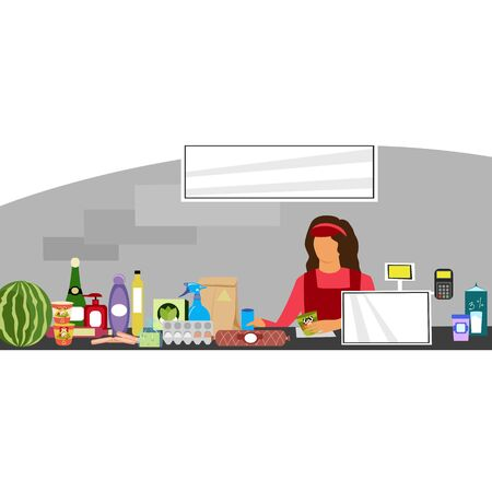 woman cashier at the store. vector image of goods at the supermarket checkout Illustration