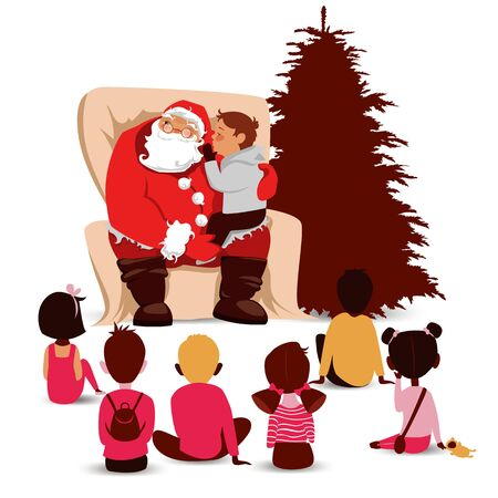 children visiting Santa. Santa Claus gives gifts to children. vector image of Christmas eve