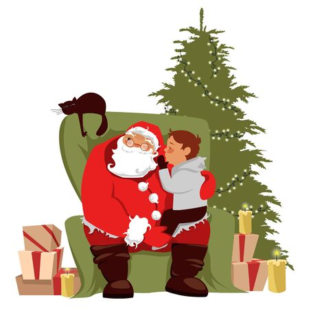 eve of christmas. the child asks Santa for a gift. vector illustration of Christmas